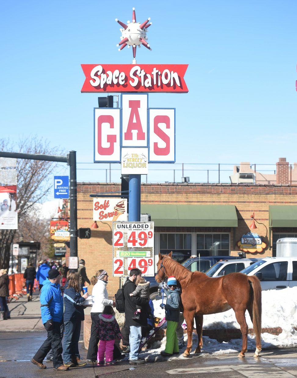 The Old West meets the Space Station in downtown Steamboat Springs after the morning's street events at Winter Carnival.