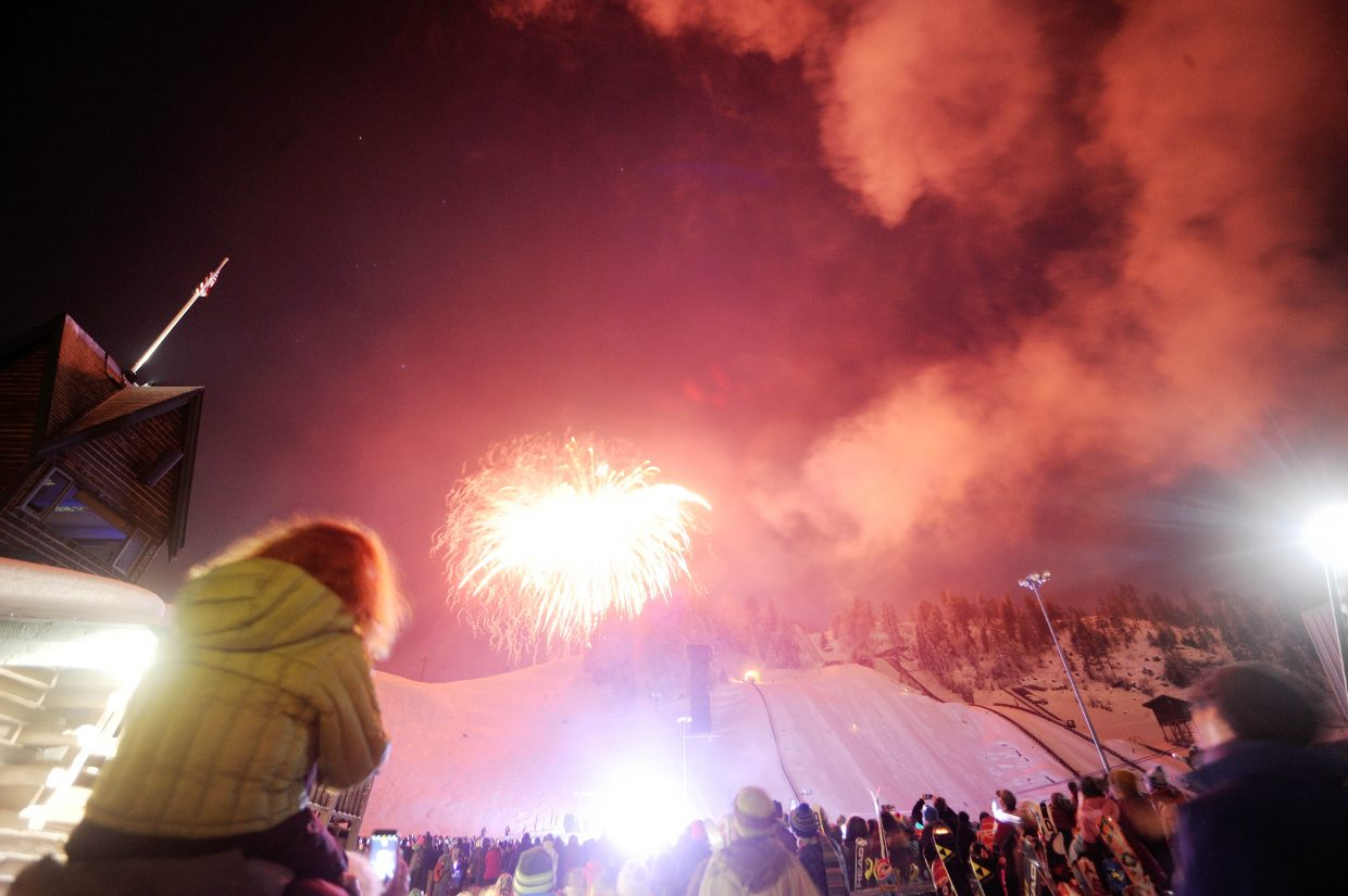 Tim Borden's 48-inch shell explodes over Emerald Mountain during the Winter Carnival Night Extravaganza on Saturday night at Howelsen Hill.