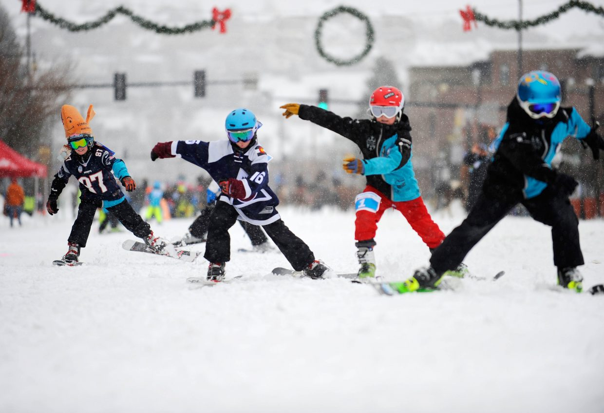Skiers compete in the 75-yard dash Saturday during the Steamboat Springs Winter Carnival Street Events.