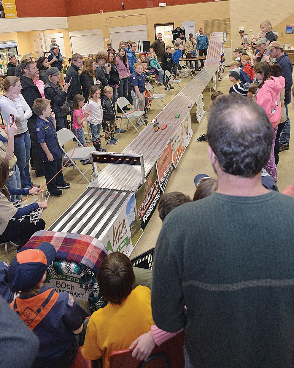 A large crowd showed up at the Steamboat Springs Middle School Wednesday evening for the annual Cub Scout's Pinewood Derby.