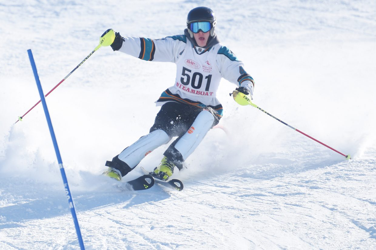 Steamboat Springs junior Andrew McCawley skis Friday in a high school slalom event at Howelsen Hill. He went on to finish third.