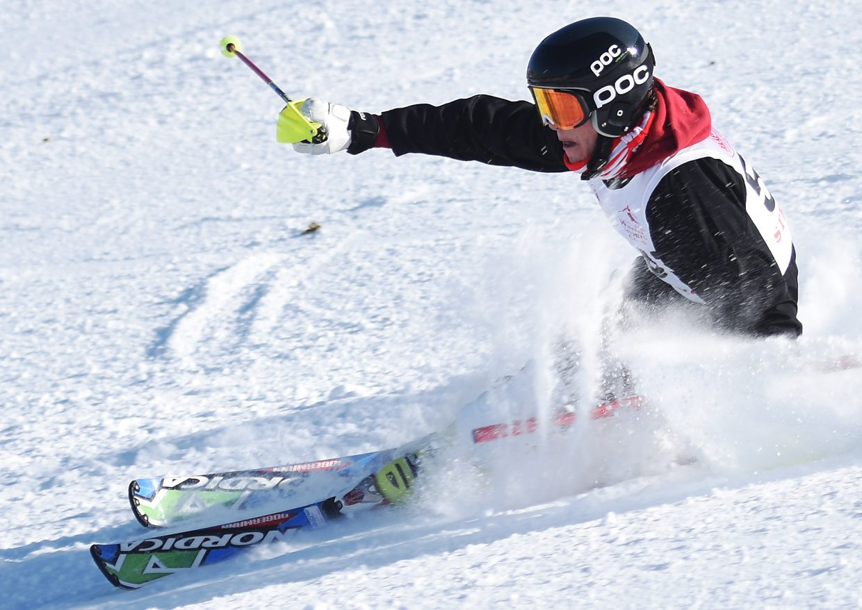 Steamboat Springs High School senior Britt Walton skis through the gates Friday during a slalom race at Howelsen Hill in Steamboat. Walton finished second on the boys side, the best result for the Sailor boys.
