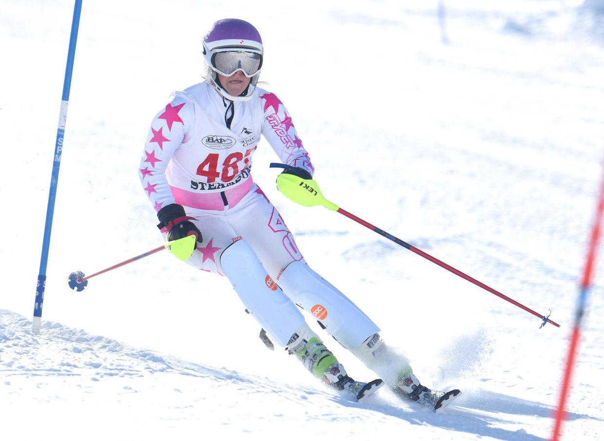 Steamboat Springs High School freshman Caroline Lupori makes her way down a slalom run at Howelsen Hill on Friday.
