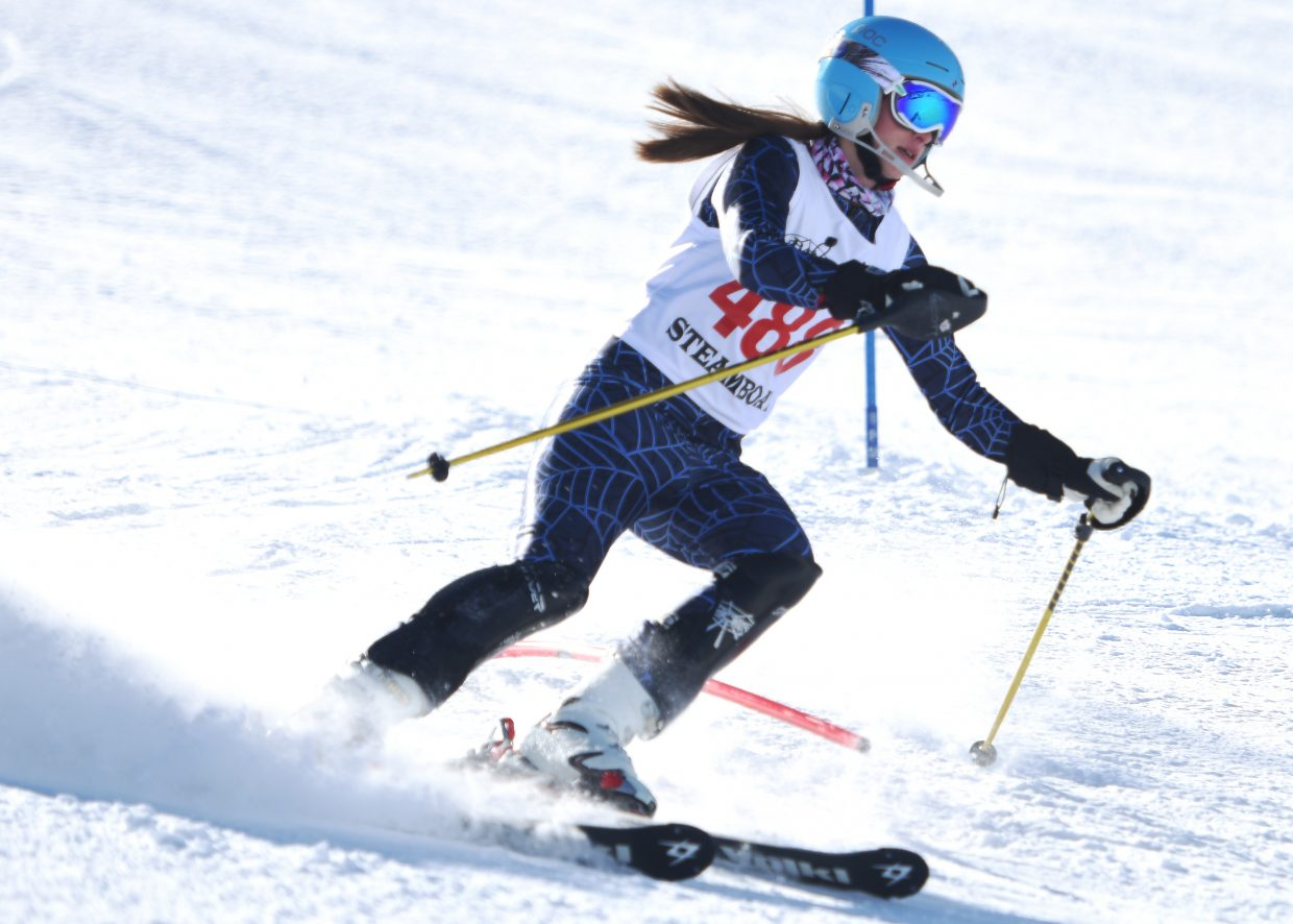 Steamboat Springs High School freshman Delaney Moon skis during a high school slalom race Friday at Howelsen Hill.