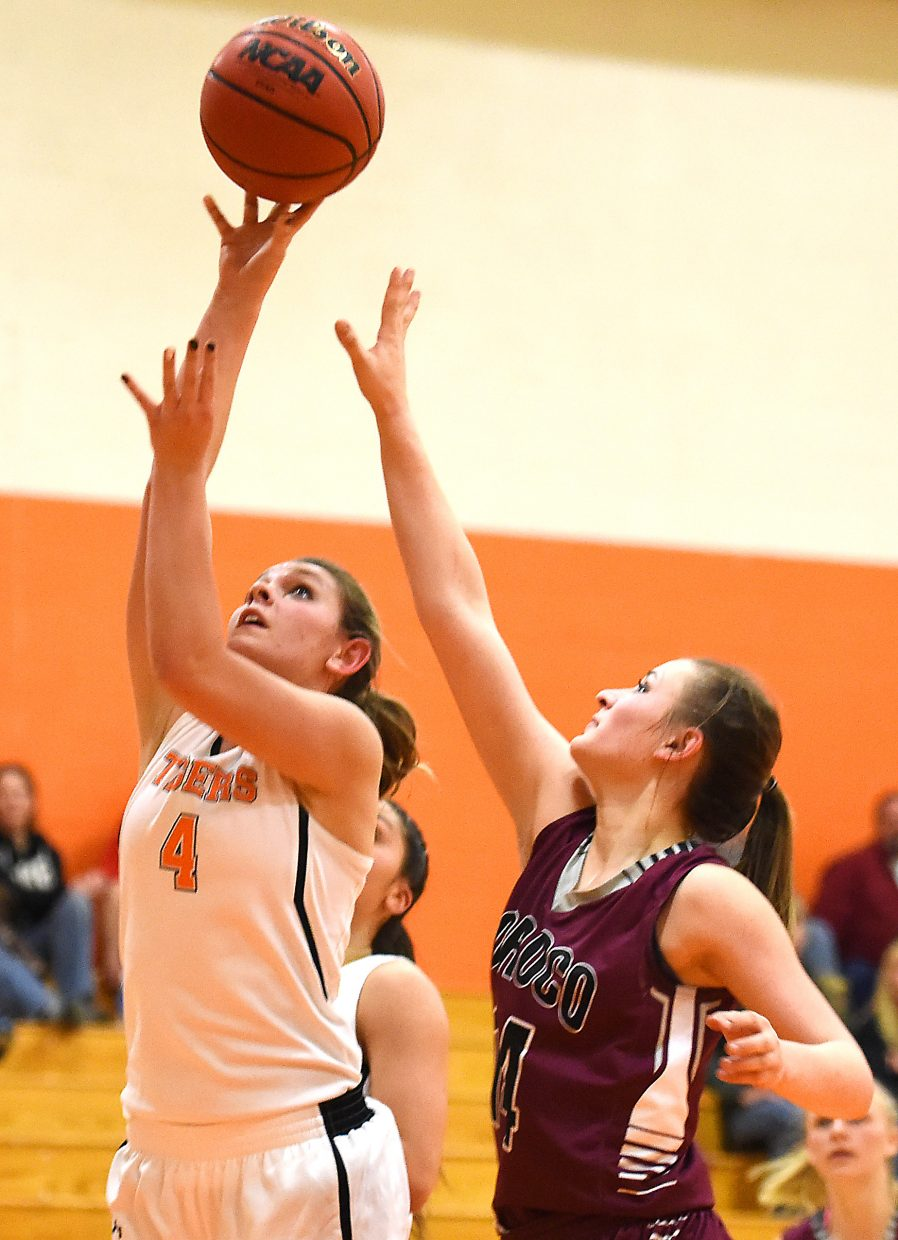 Hayden senior Kara Cozzens puts up a shot against Soroco's Briana Peterson on Friday. Cozzens led all scorers with 18 points.