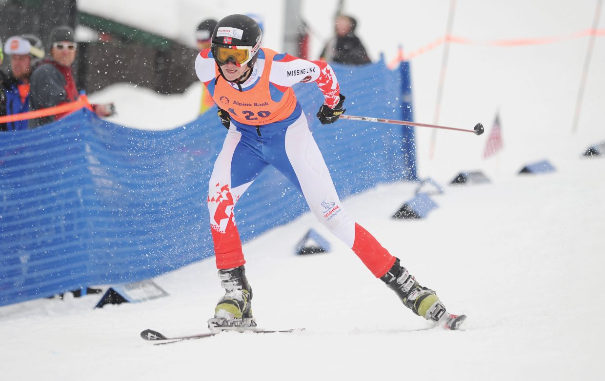 Norway's Adne Kristenstuen races toward the finish line of Thursday's Telemark World Cup Race at Howelsen Hill. Kristenstuen finished in 11th place.