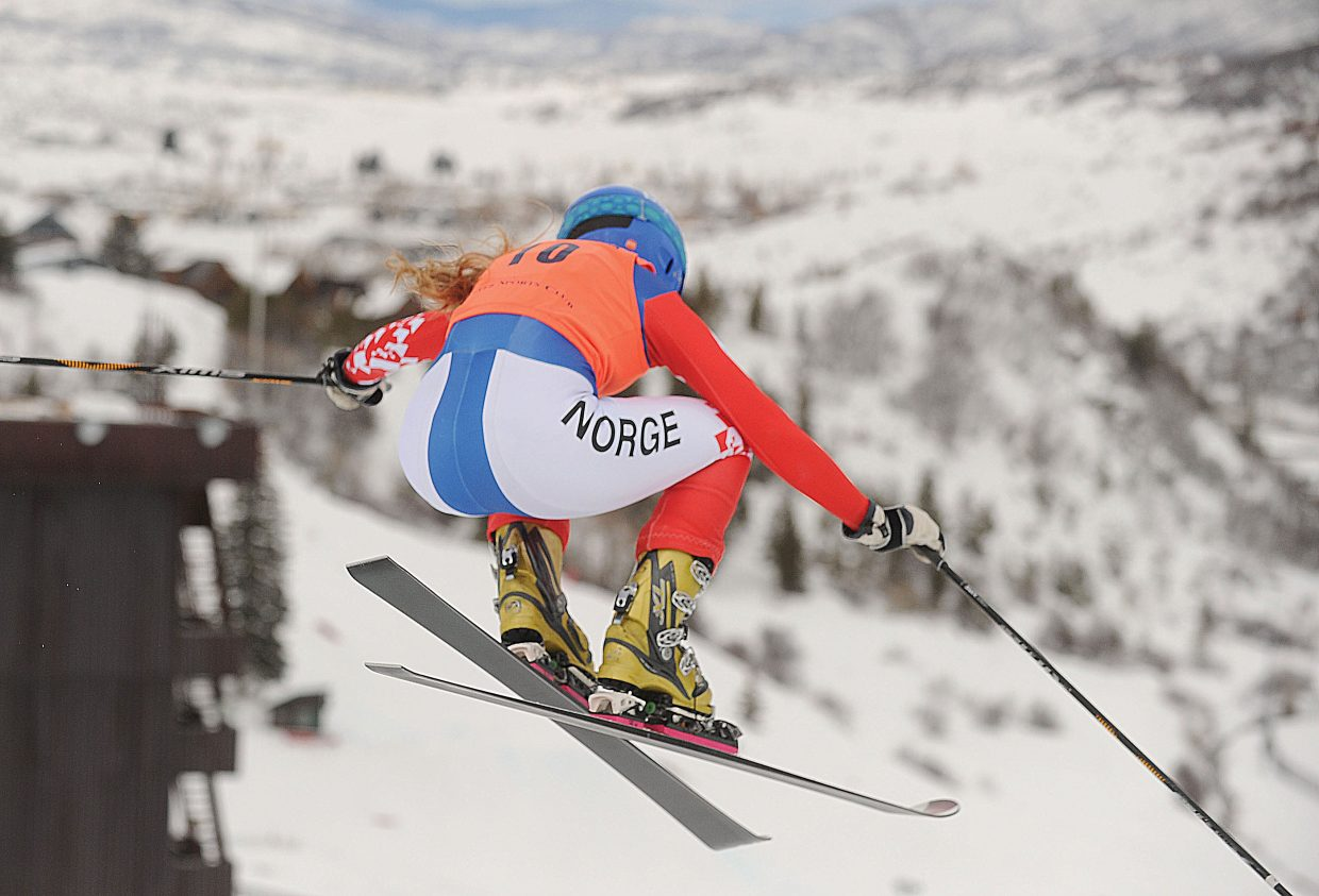 Norway's Guro Helde Kjoelseth soars of the jump at the top of Howelsen Hill during Thursday's Telemark World Cup race at Howeslen Hill. Kjoelseth placed fourth in the women's division.