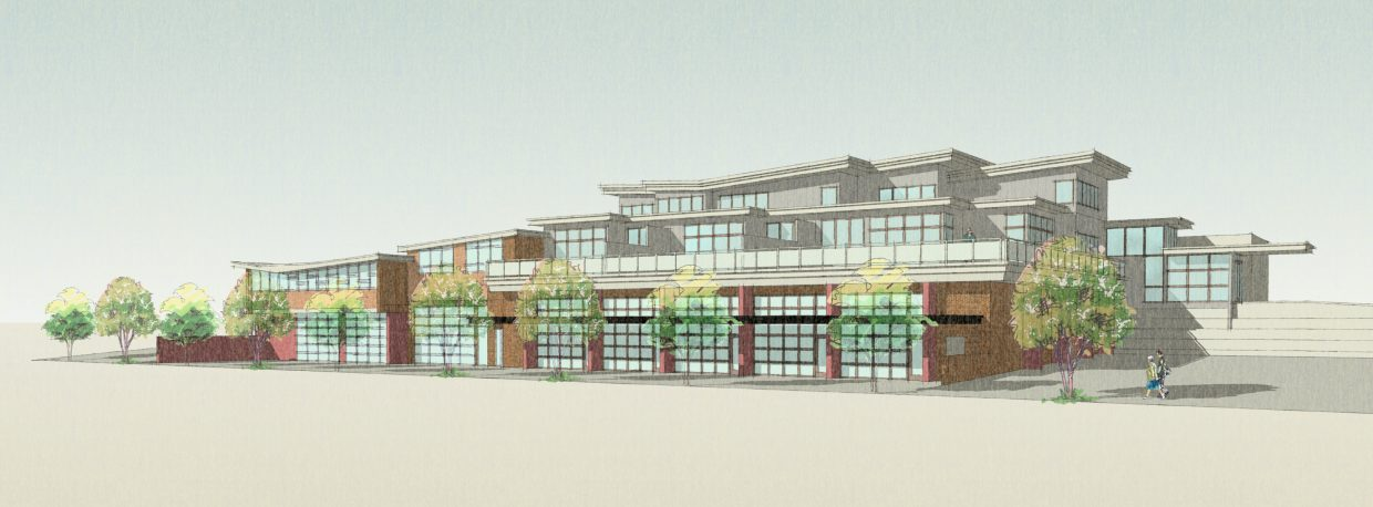 A rendering shows what is envisioned for the redevelopment of the old Yampa Valley Electric Association campus on Yampa Street.