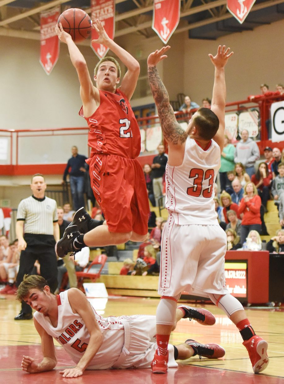 Glenwood Springs sophomore AJ Crowley goes up for a layup late in the fourth quarter. He scored on the play, giving his team a 42-40 win in Steamboat Springs.