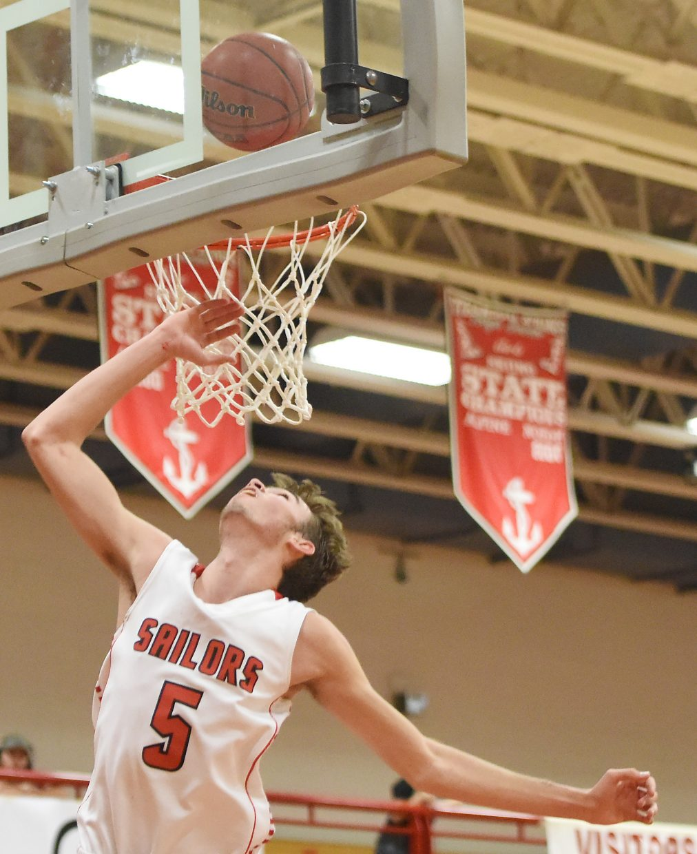 Steamboat's Jon Rinck lays a ball in for two points Saturday against Glenwood Springs.
