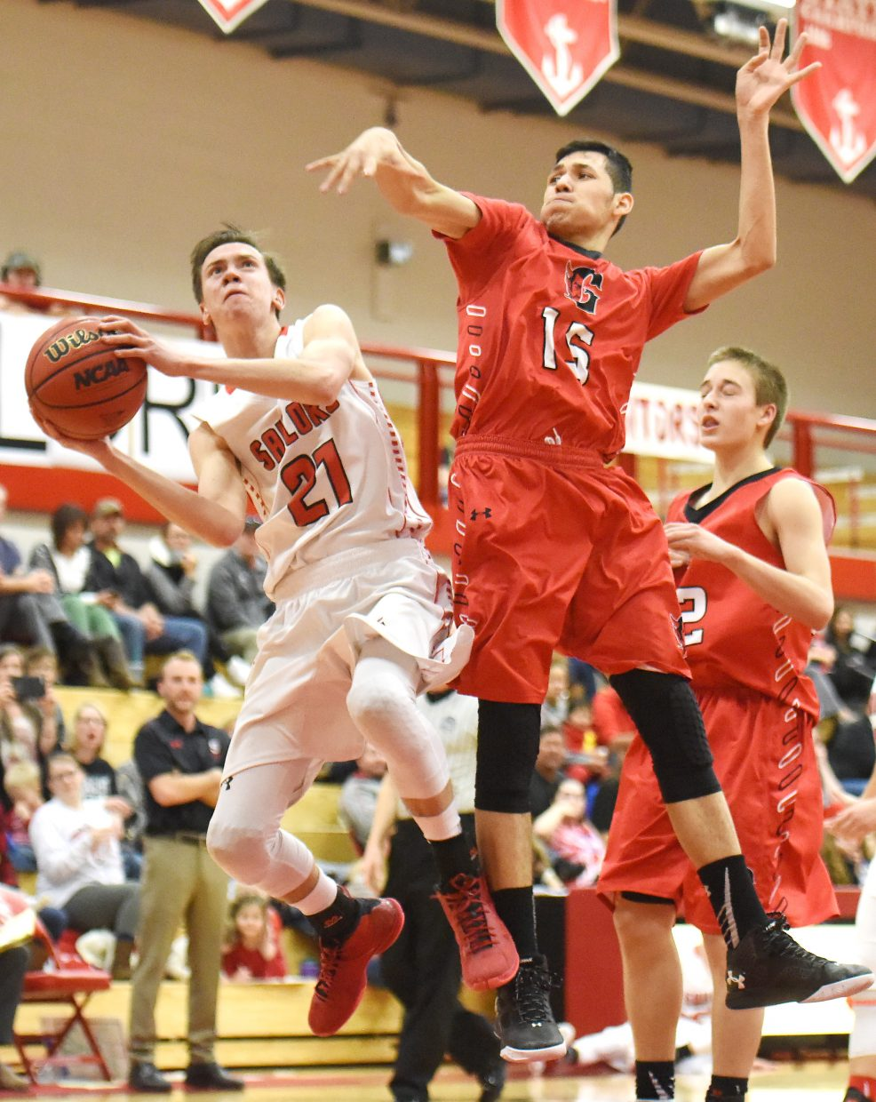 Steamboat's John Zalesky tries to get up a shot Saturday against Glenwood Springs.