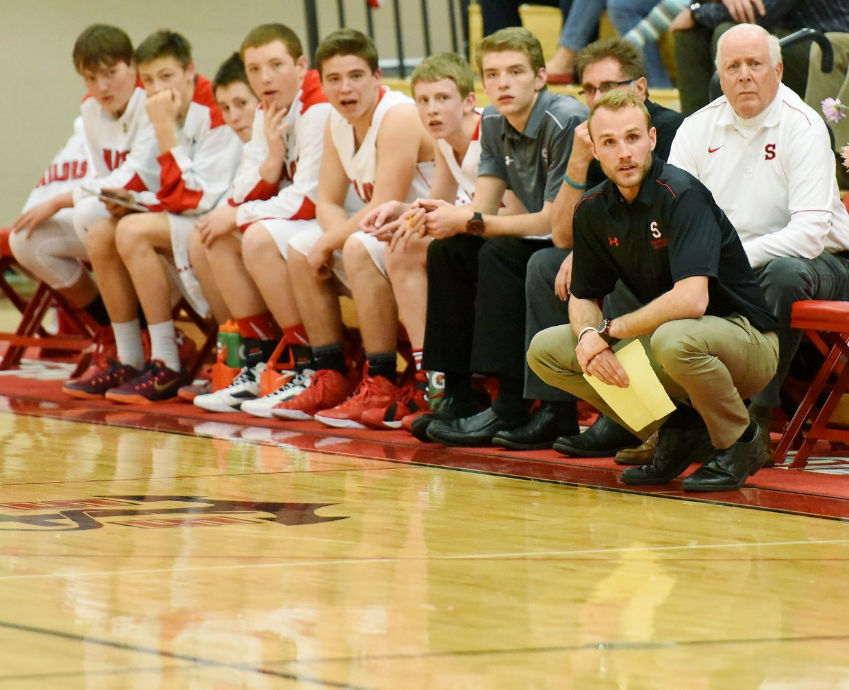 Steamboat Springs High School boys basketball coach Mike Vandahl watches the action Saturday.