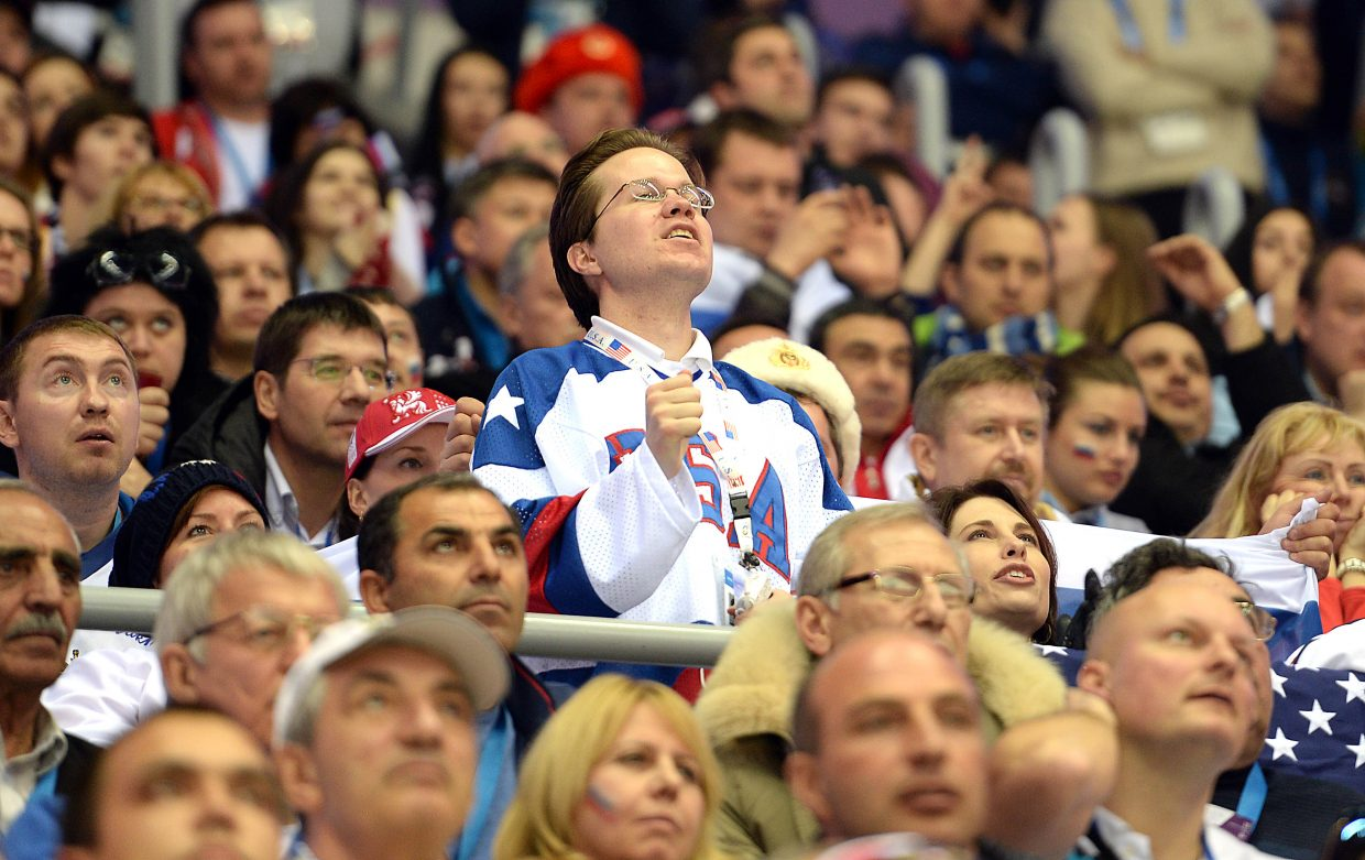 An American fan waits nervously for the start of penalty shots Saturday at the Bolshoy Ice Arena during the U.S.-Russia men's hockey game.