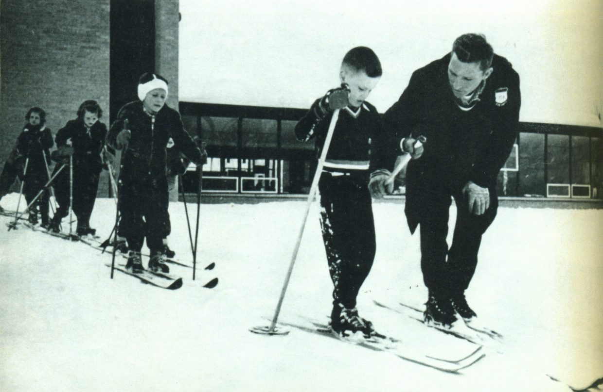 Crosby Perry-Smith teaches beginning skiers in Steamboat Springs where he coached for the Winter Sports Club in 1957 and 1958.