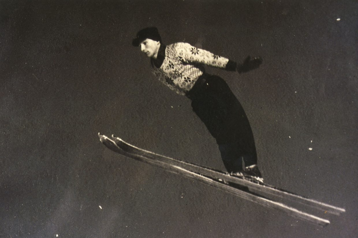 Crosby Perry-Smith as a young man, ski jumping in leather boots and on wooden skis. He was the manager and head ski coach of all disciplines at Howelsen Hill in Steamboat Springs in the mid 1950s.
