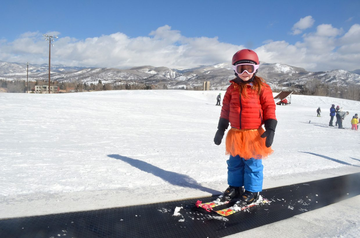 At the ripe old age of five, Ayla White is a veteran skier at Howelsen Hill's Magic Carpet-served slope. Several of the youngsters skiing at Howelsen on a Sunday morning in late January were two and three years old.