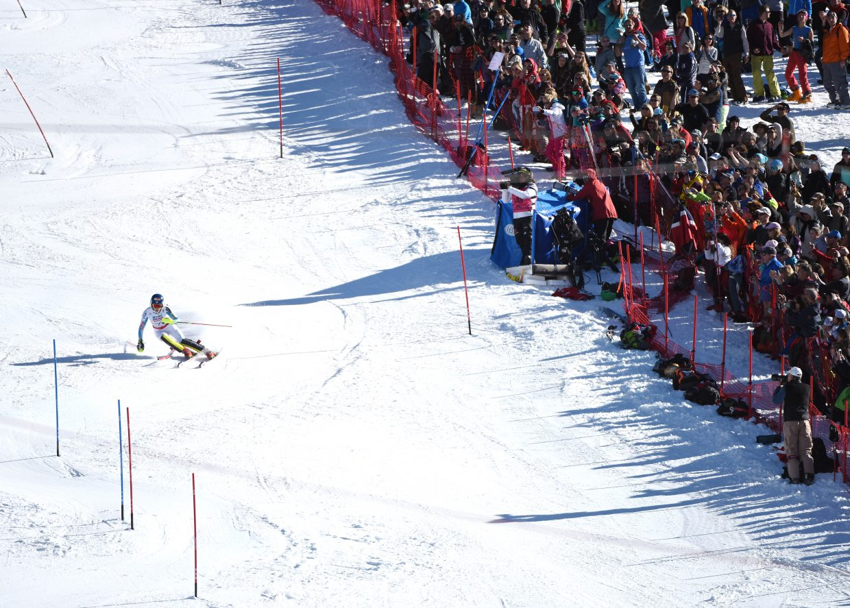 Mikaela Shiffrin bobs and weaves between the slalom gates Saturday during her championship clinching run at the FIS Alpine World Championships at Beaver Creek. Thousands lined the course and filled the grandstands, cheering her on.