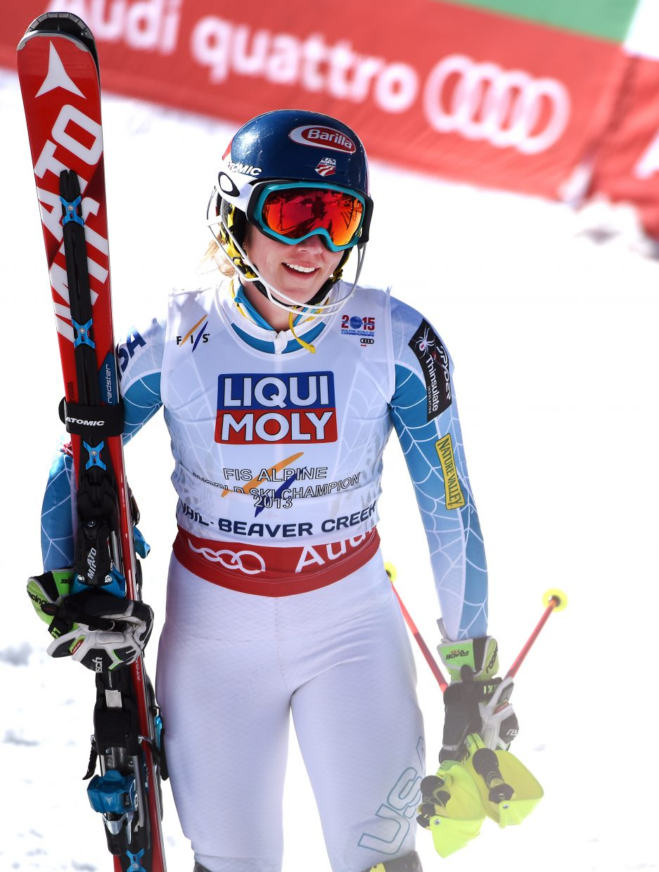 Mikaela Shiffrin cracks a smile Saturday after winning her second World Championship gold medal.
