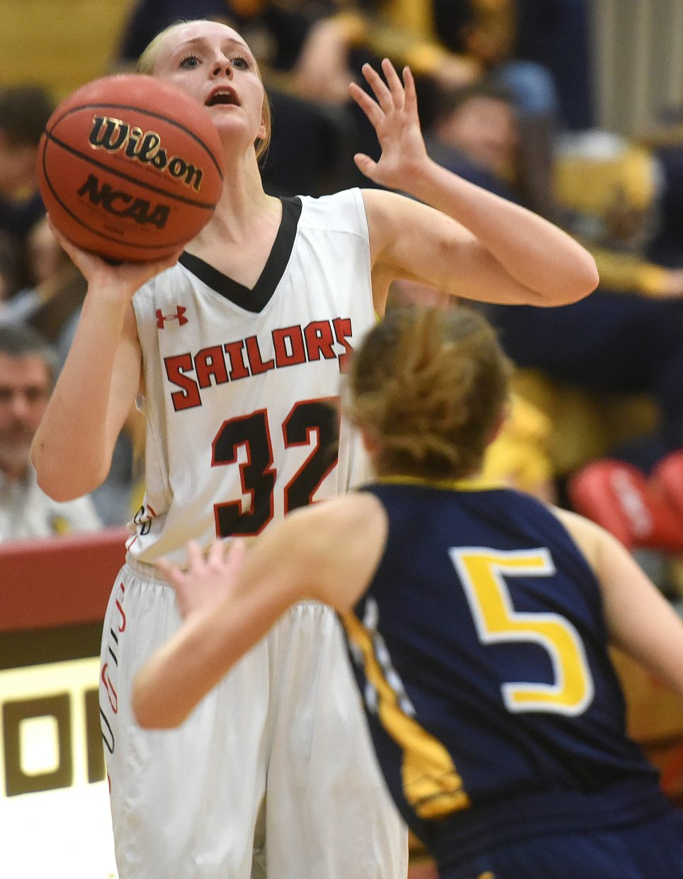 Steamboat's Kady Look lets loose a shot Tuesday against Rifle.