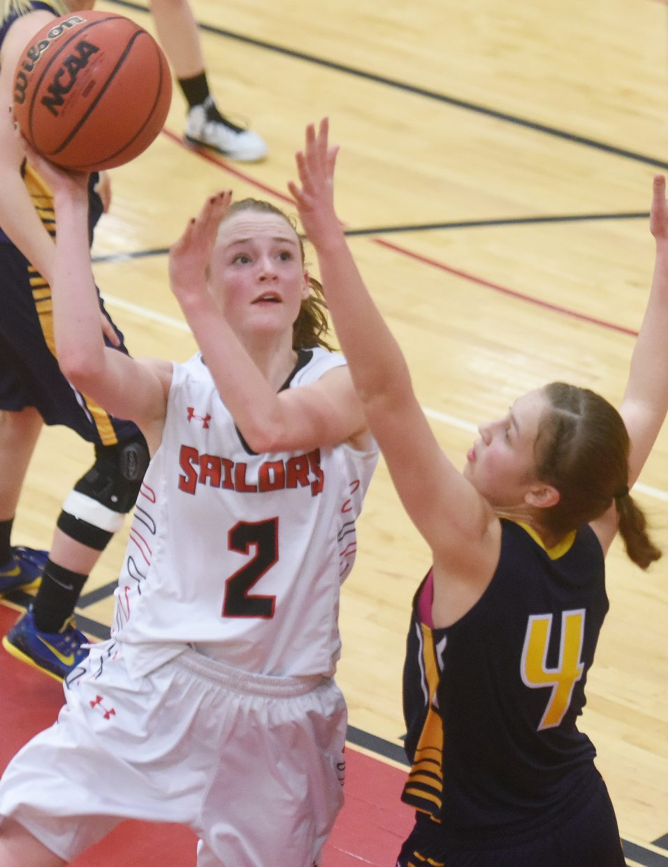 Steamboat's Raya Duryea puts up a shot Tuesday against Rifle.