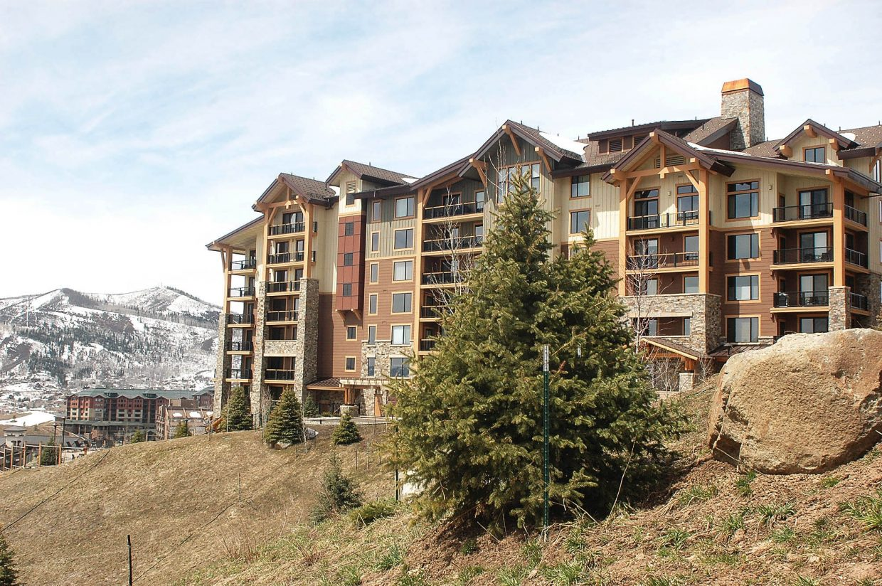 Developers are going to the city of Steamboat Springs later this month seeking a permit to build a second, much smaller phase of Edgemont comprising four, single-level condominiums on the steep parcel shown in the left foreground of this 2011 photograph.