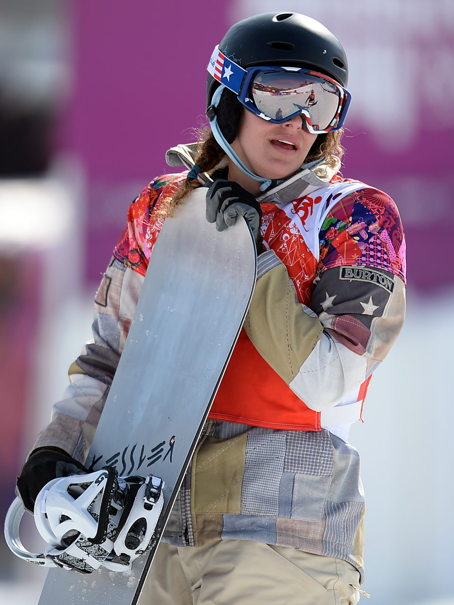 Lindsey Jacobellis walks away after finishing at the end of her semifinals heat, out of position to qualify for the finals.