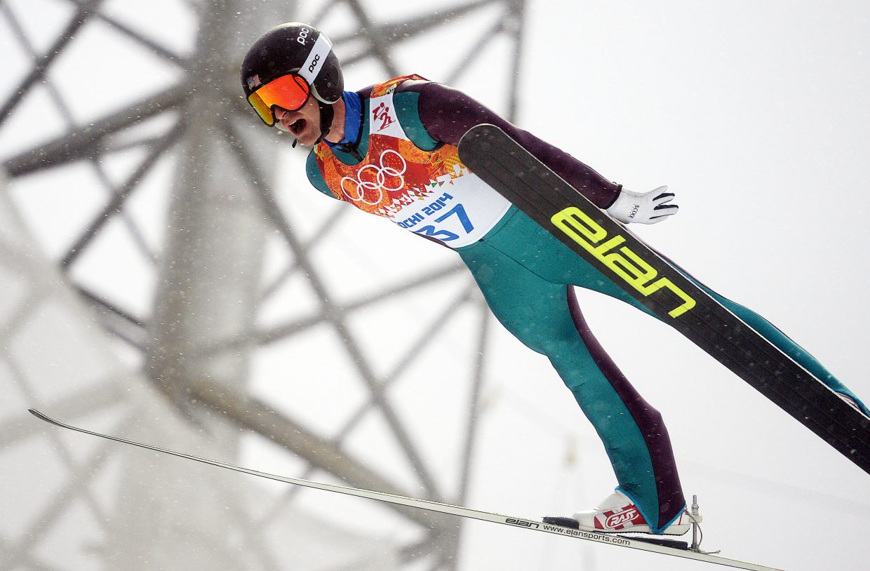 Steamboat's Bryan Fletcher led the United States Nordic combined team in the jumping portion of Tuesday's Nordic combined large hill event at the 2014 Winter Olympics. The competition was marred by rain and fog.