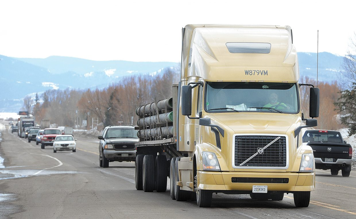 A long line of traffic between Walton Creek Road and the Colorado Highway 131 turnoff makes its way into Steamboat Springs Tuesday afternoon. Traffic through Steamboat was unusually high Tuesday due to the closure of Interstate 70.