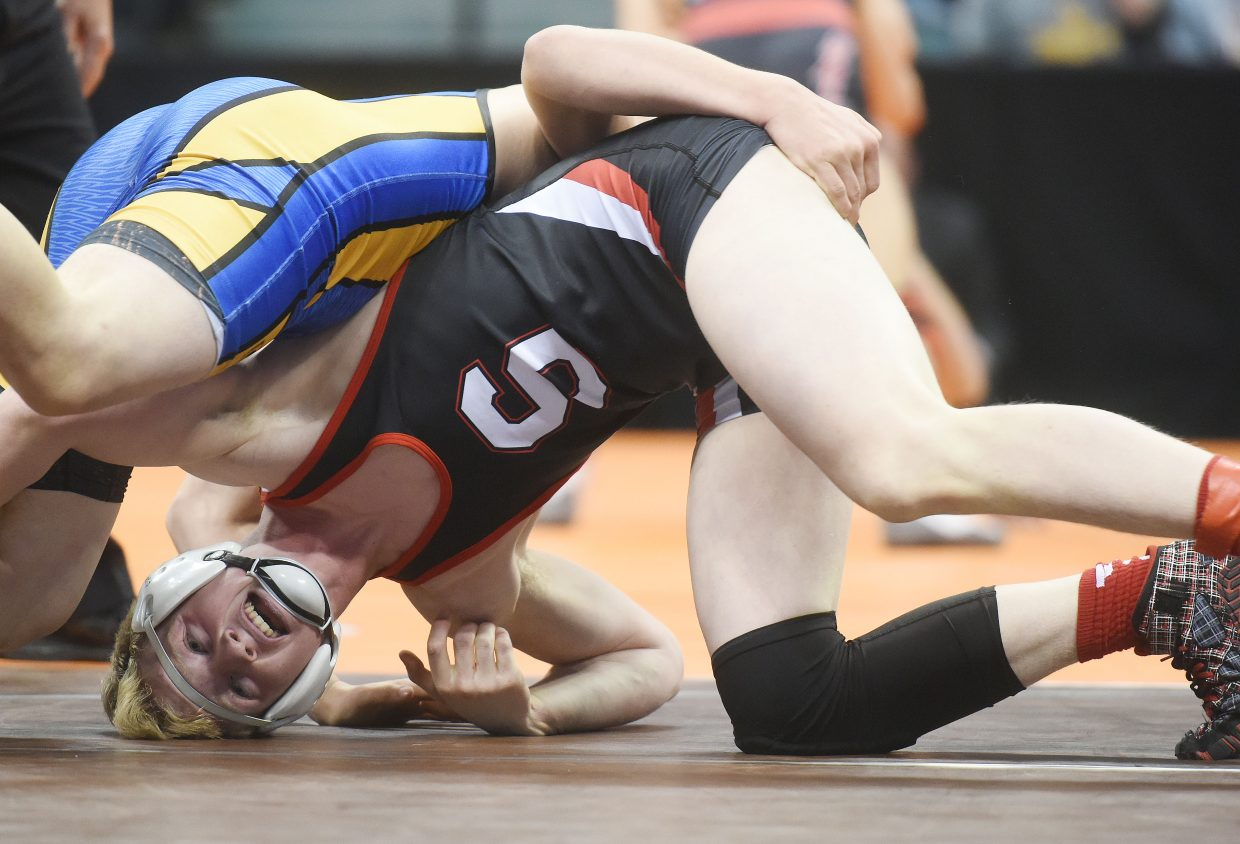 Steamboat Springs High School junior Hayden Johnson kept his head in the game Thursday in the first round of the state wrestling tournament in Denver. Johnson won his match, 4-3, and was one of six local high school wrestlers to make it through the first round and to the quarterfinals.