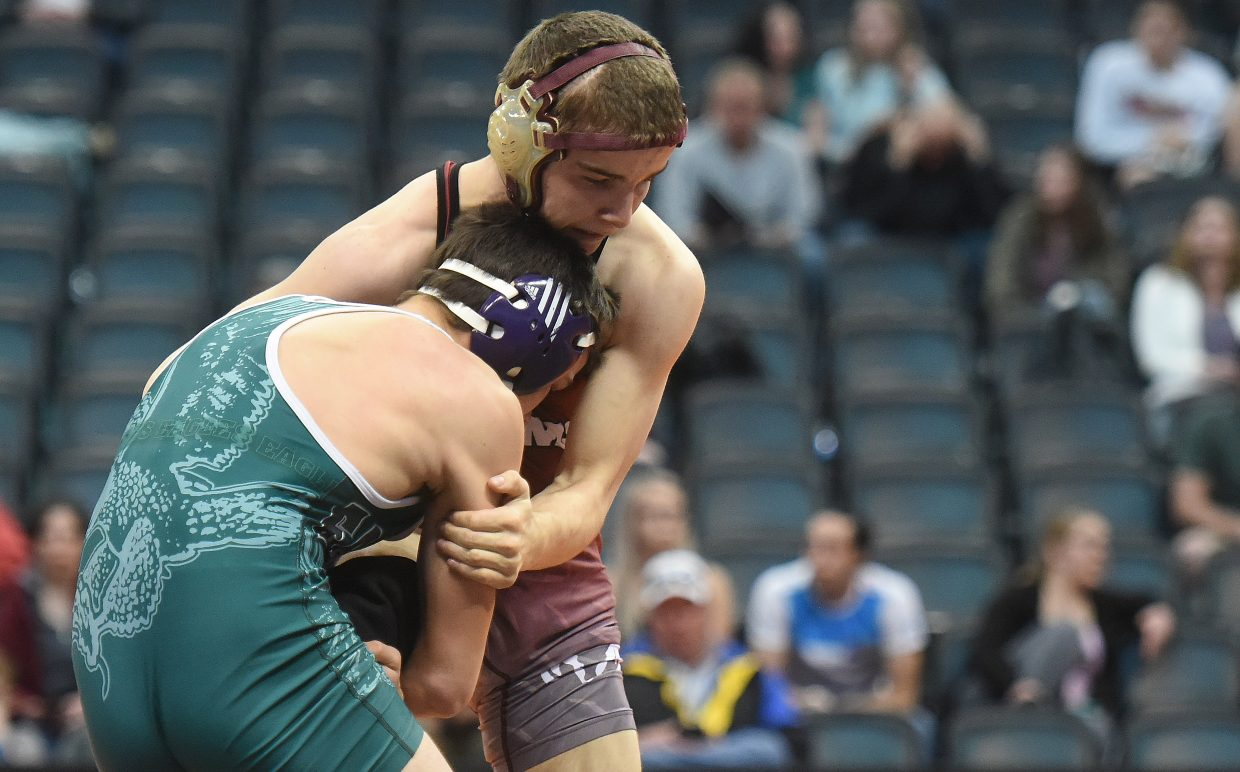 Soroco's Lane Martindale wrestles Thursday at the state tournament in Denver.