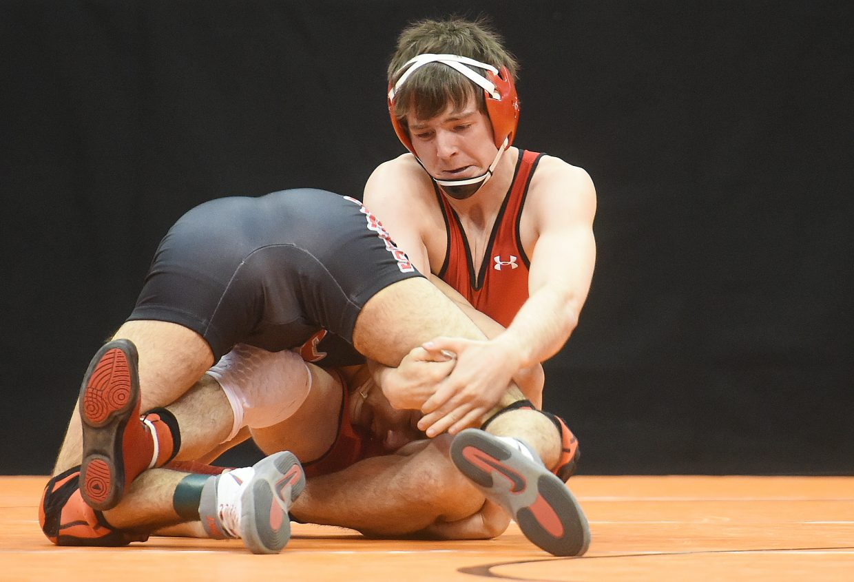 Steamboat's Matthew Hansen wrestles Thursday at the state touranment in Denver.