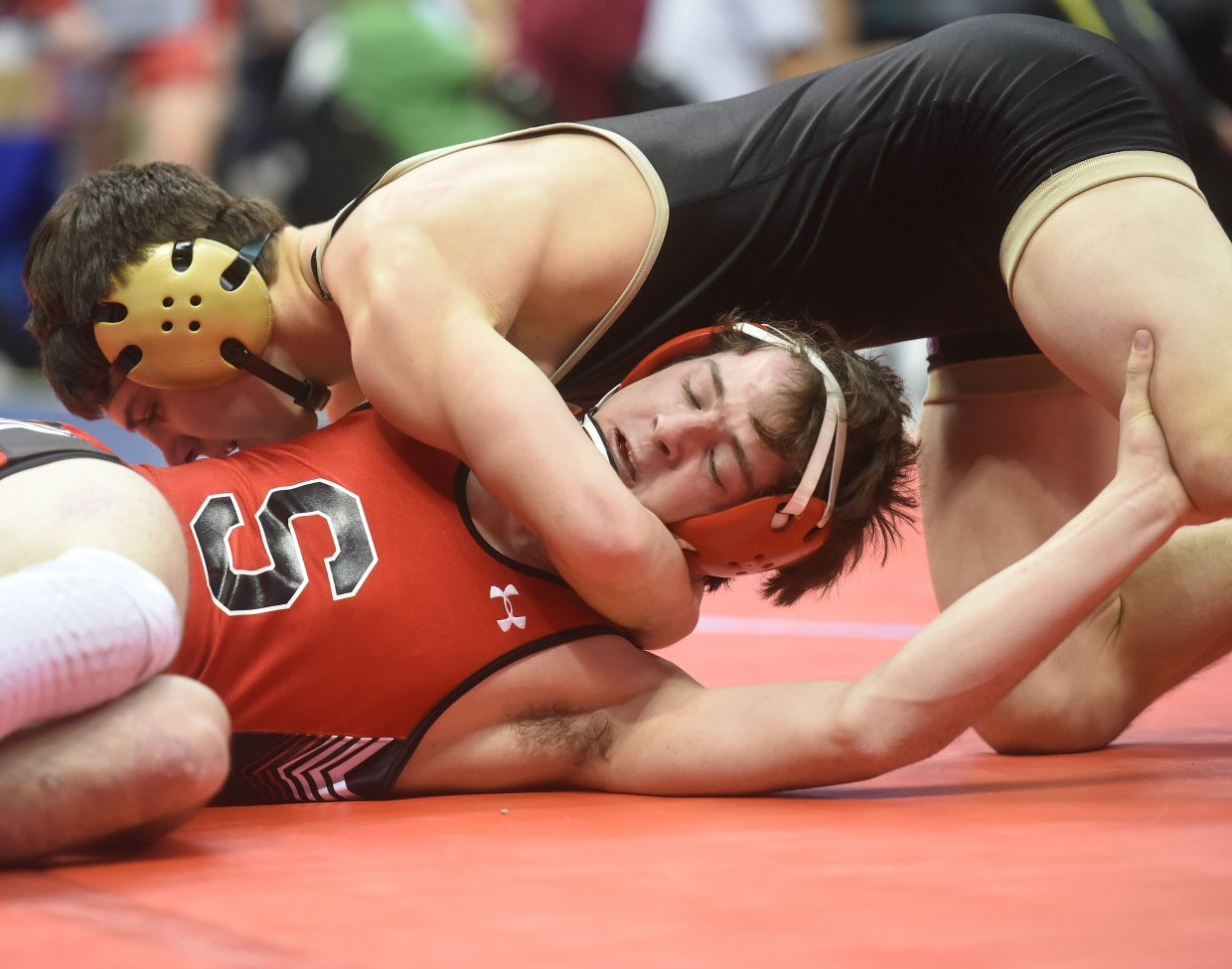 Steamboat's Matthew Hansen wrestles Friday at the state championships in Denver.