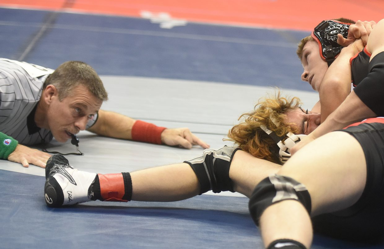 Steamboat's Lance Bryant wrestles Friday in the quarterfinals at the state wrestling championships in Denver.