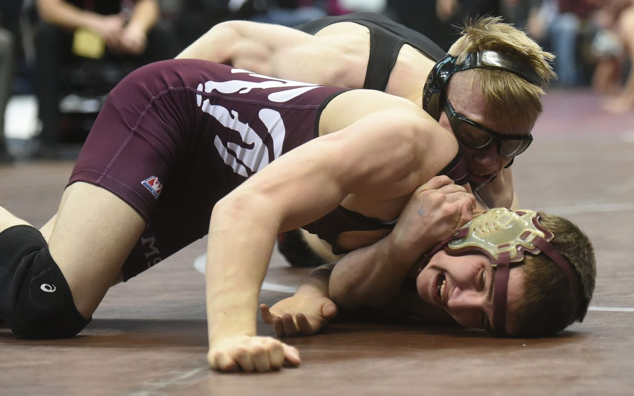 Soroco's Lane Martindale wrestles Friday at the state championships in Denver.