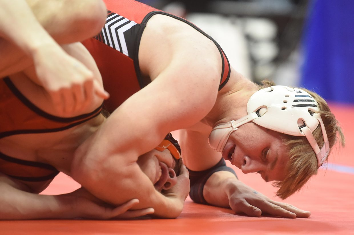 Steamboat's Dakota Thvedt wrestles Friday at the state championships in Denver.