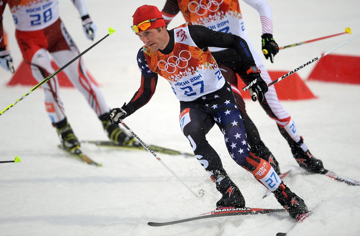 Bryan Fletcher skis Tuesday in the large hill Nordic combined event at the RusSki Gorki Jumping Complex in Krasnaya Polyana, Russia during the 2014 Winter Olympics.