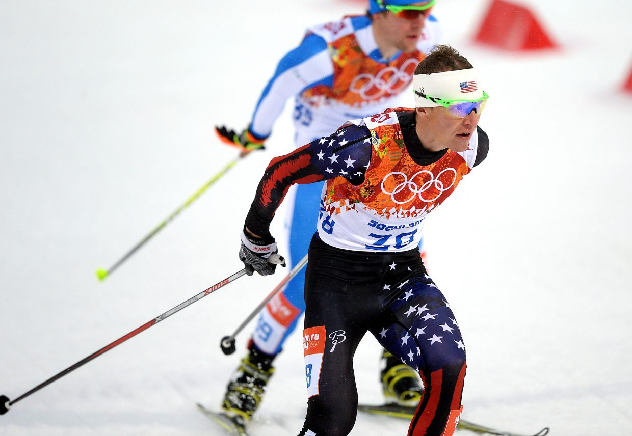 Billy Demong skis Tuesday in the large hill Nordic combined event at the 2014 Winter Olympics in Krasnaya Polyana, Russia.
