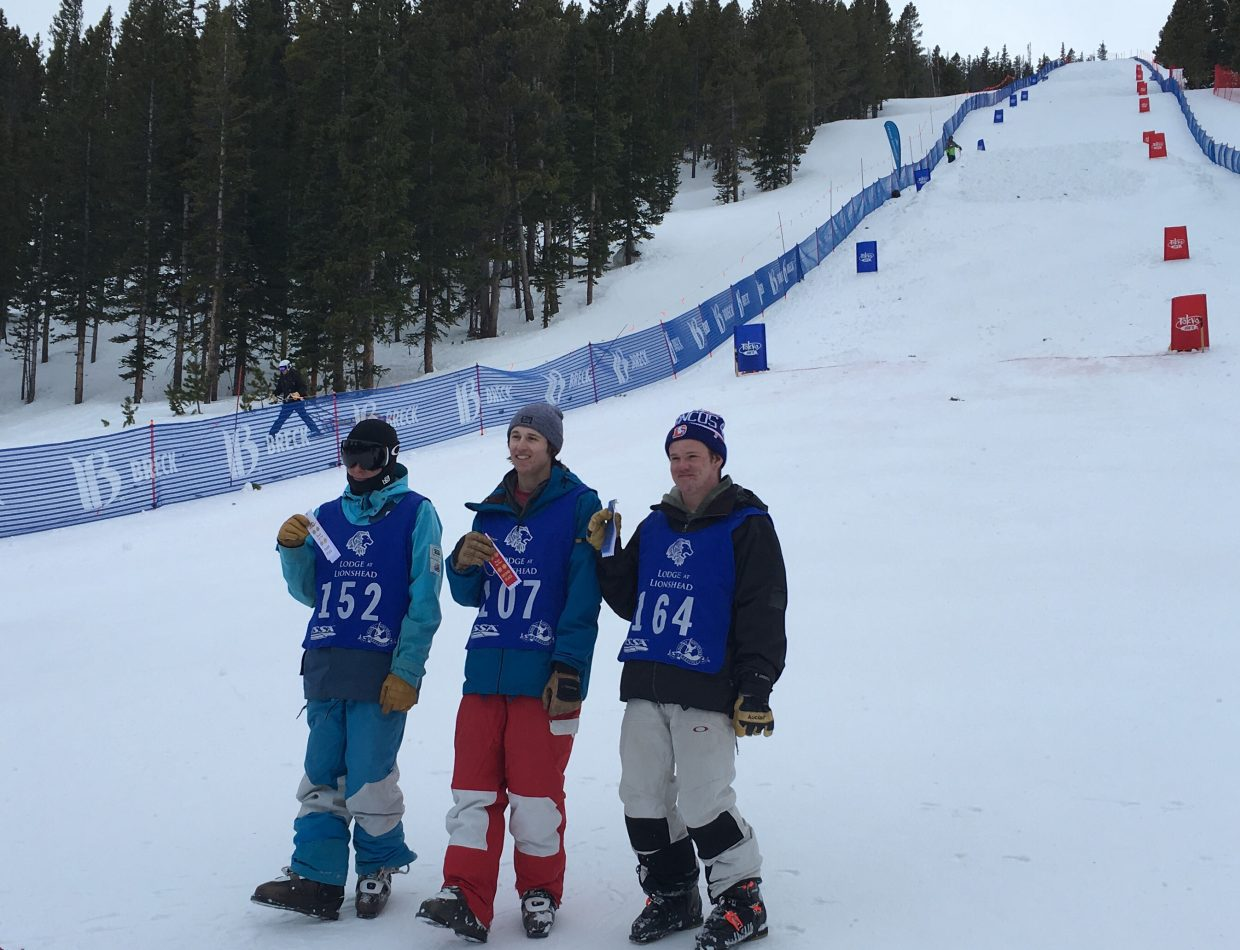 Steamboat Springs freestyle skier Tyler Strnad, right, won an individual moguls event last weekend in Breckenridge while teammate Zach Rosa was fifth one day and second another.