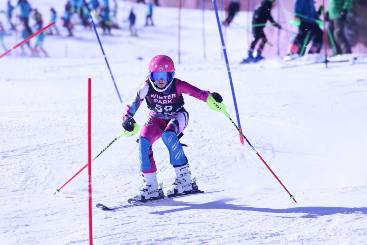 Steamboat Springs Winter Sports Club skier Molly Mueller skis down a slalom run earlier this month at Winter Park. Mueller finished second in each of her four races.