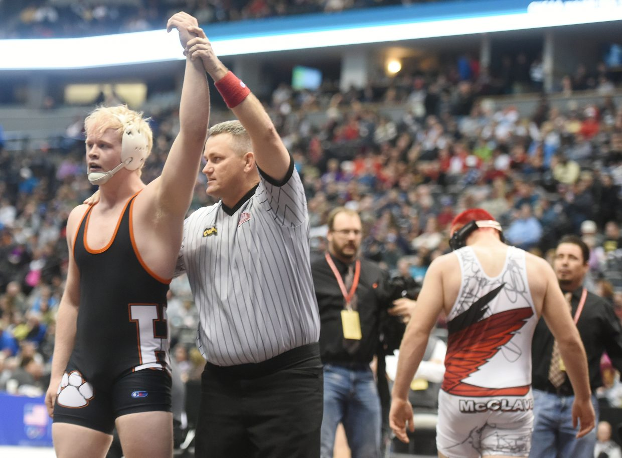 Hayden's Christian Carson is declared the winner of his state semifinal match on Friday at the state tournament in Denver.