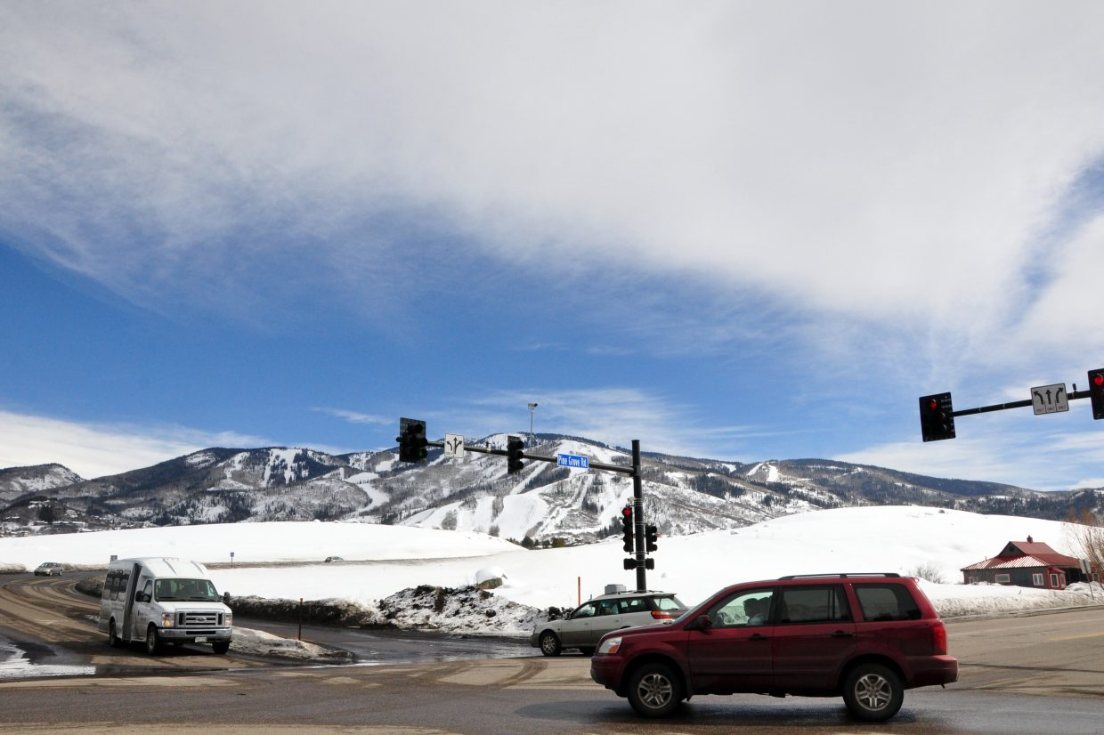 Traffic moves through the intersection of Pine Grove Road and Central Park Drive. The site owned by Yampa Valley Medical Center is one of three that the Steamboat City Council has directed city staff to investigate to possibly build a new police station.