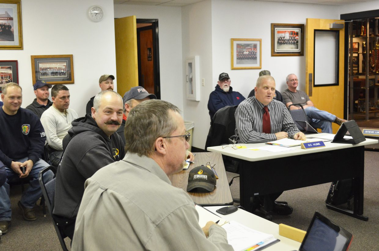 Fire Chief and Moffat County Sheriff KC Hume speaks to the Craig Rural Fire Protection District board at their meeting on Thursday, Feb. 19.