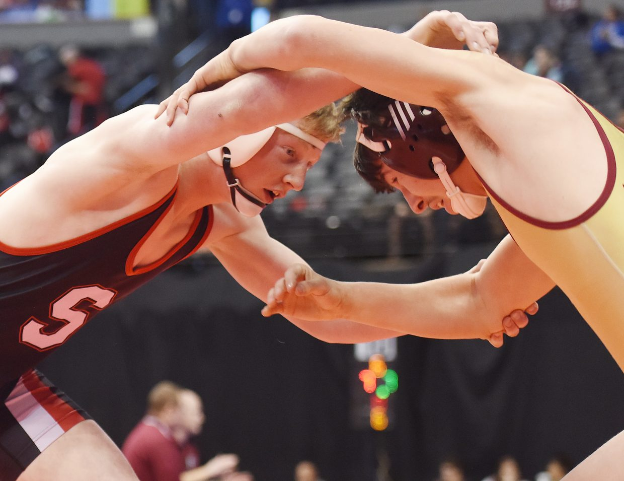 Steamboat's Hayden Johnson fights Thursday in the first round of the Class 3A state wrestling tournament in Denver.