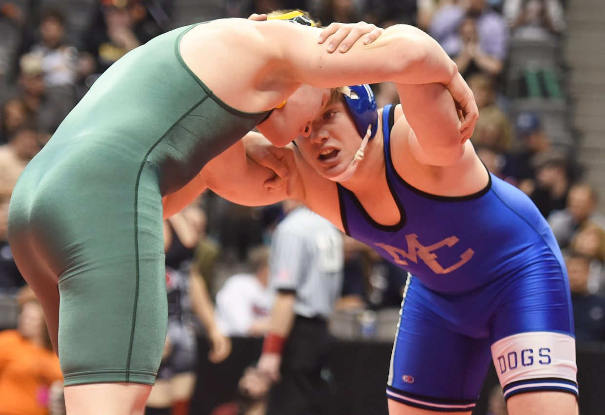 Moffat County's Brett Loyd wrestles Thursday in the Class 3A state wrestling tournament in Denver.