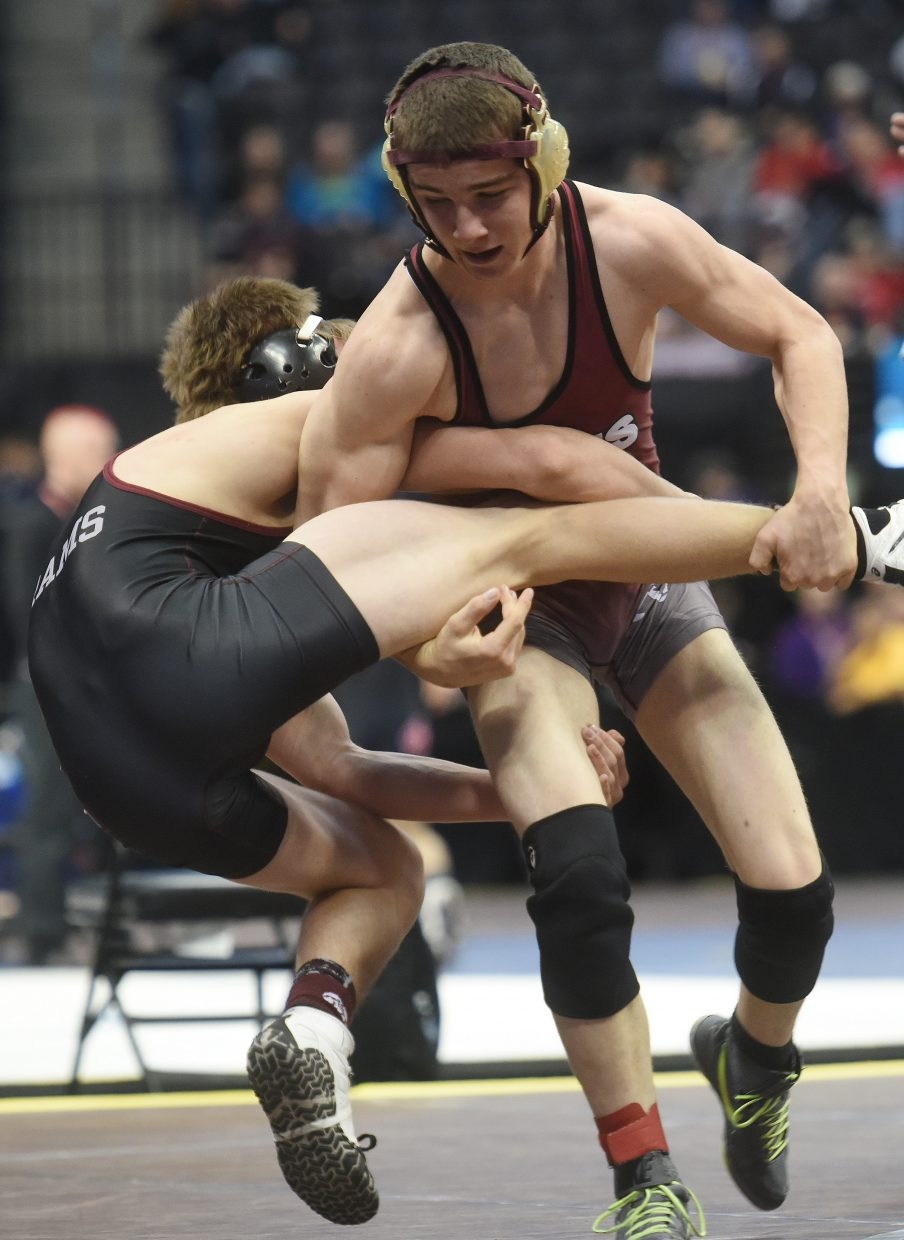 Soroco's Lane Martindale wrestles in the consolation bracket Saturday at the state tournament in Denver. Martindale placed sixth in the tournament.