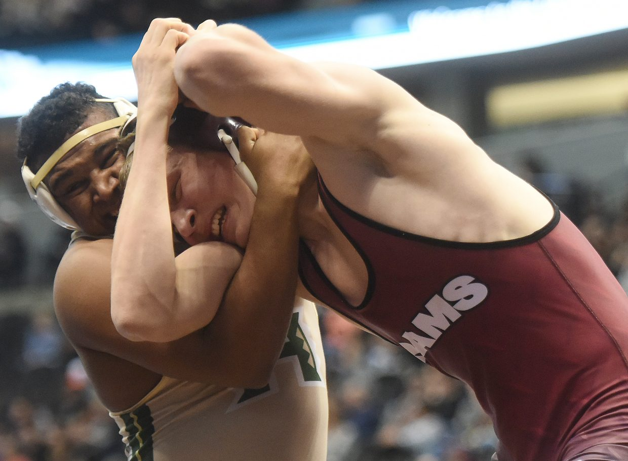 Soroco's Sky Carlson Soroco's wrestles in the consolation bracket Saturday at the state tournament in Denver. Carlson ended up capturing sixth place in the tournament.