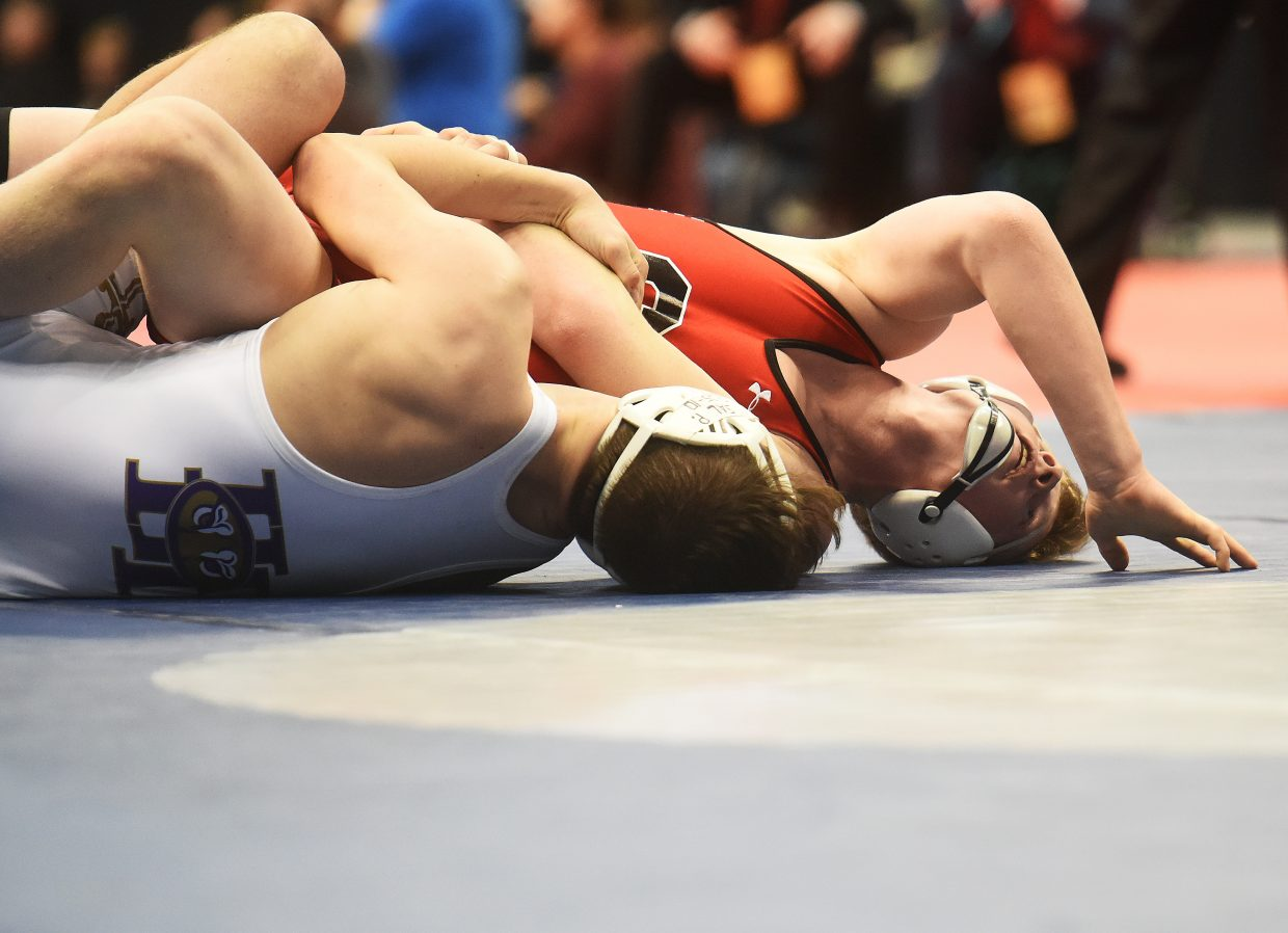 Steamboat's Hayden Johnson wrestles Saturday in the Class 3A 160-pound state championship match in Denver.