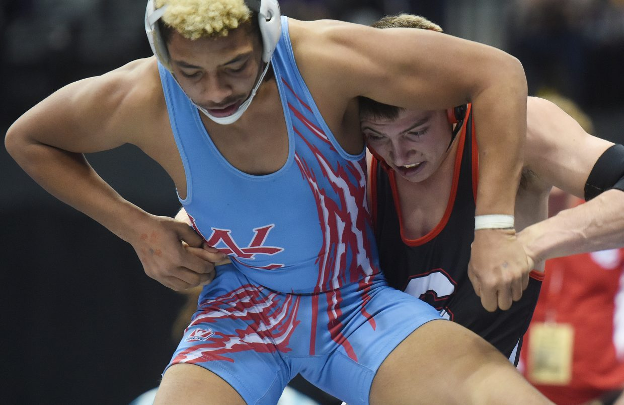 Steamboat's Lance Bryant wrestles in the consolation bracket Saturday at the state tournament in Denver. He eventually went on to place fifth in the tournament.