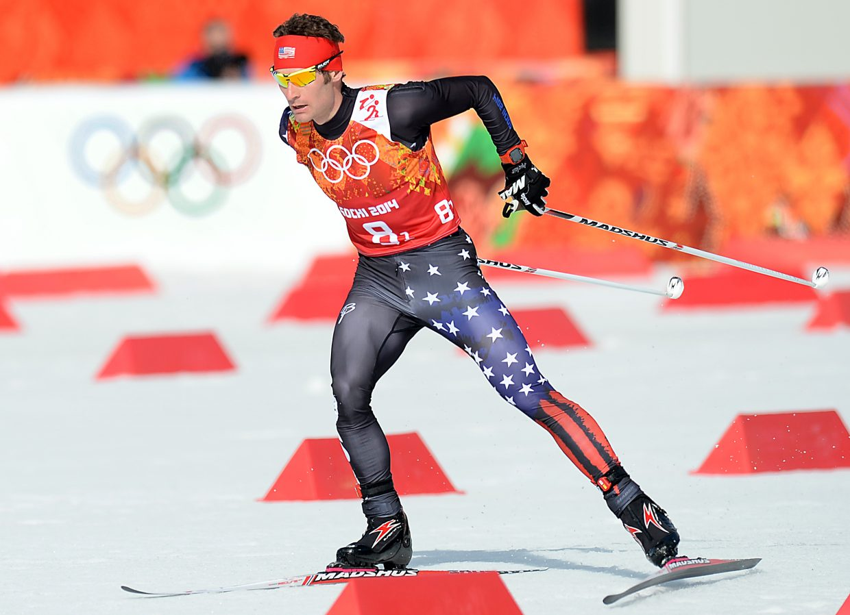 Bryan Fletcher skis Thursday during the final Nordic combined competition of the 2014 Winter Olympics, the team relay event.