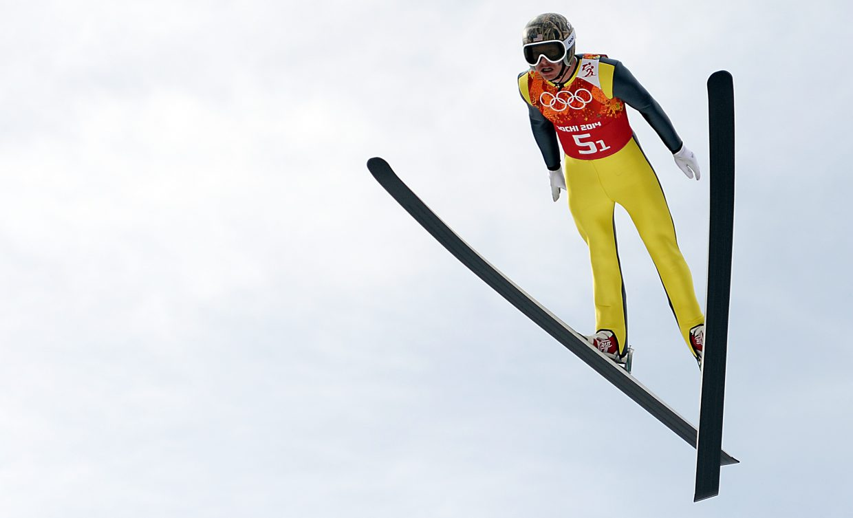 Steamboat Springs' Todd Lodwick soars Thursday during the Nordic combined team relay event at the 2014 Winter Olympics. The jump was the final competition jump for the six-time Winter Olympian.